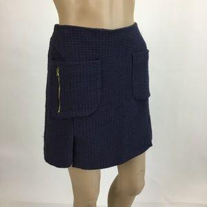 39c657e7c Zara Skirts | Basic Navy Tweed Mini Skirt Gold Zippers Med | Poshmark